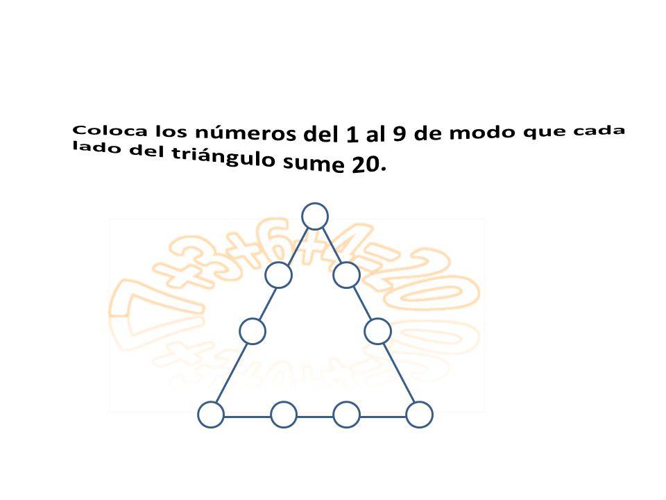 Coloca los números del 1 al 9 de modo que cada lado del triángulo sume 20.