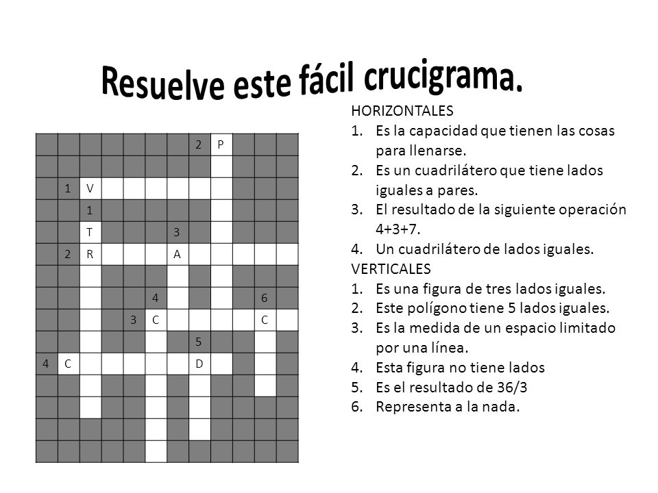 Resuelve este fácil crucigrama.