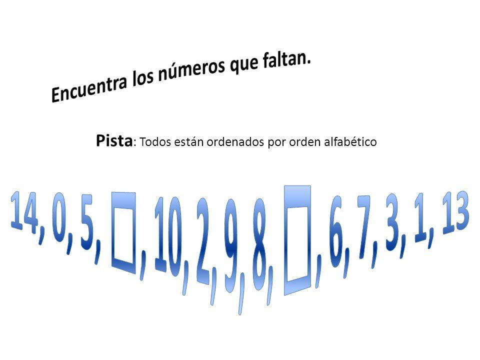 Pista: Todos están ordenados por orden alfabético