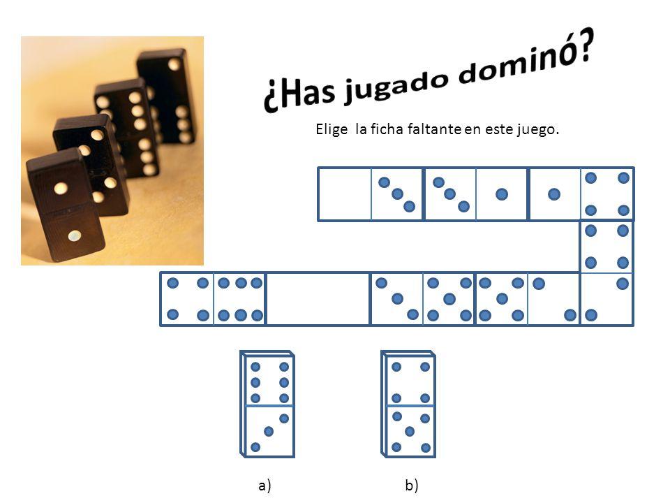 ¿Has jugado dominó Elige la ficha faltante en este juego. a) b)