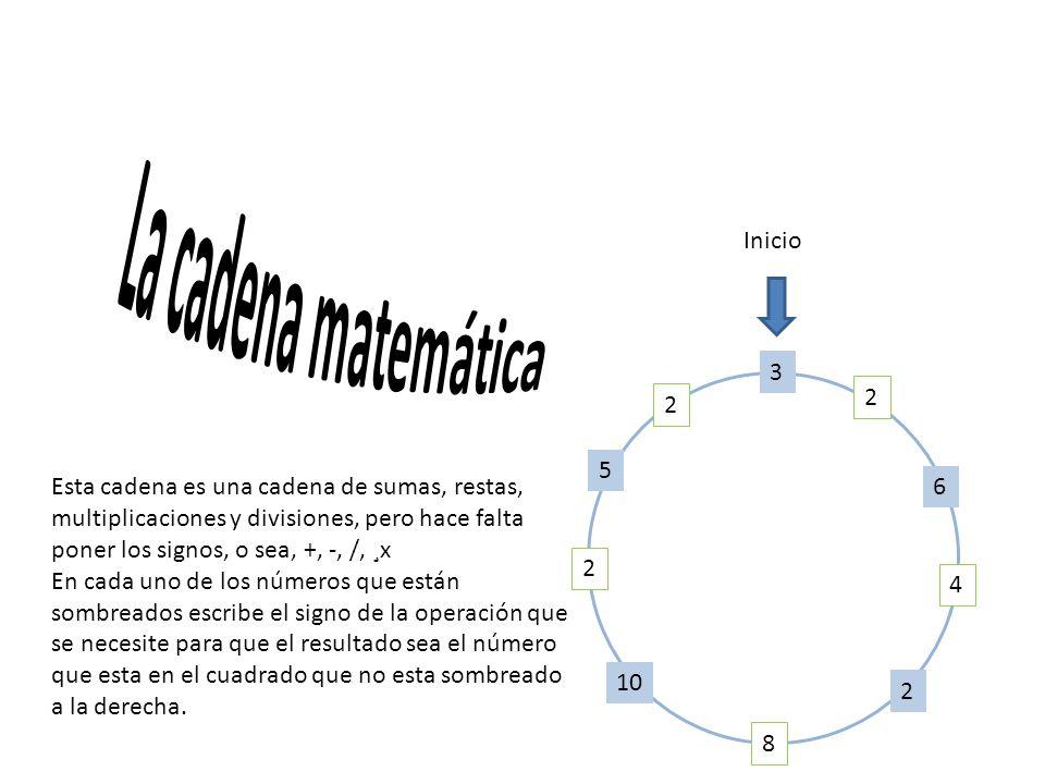 La cadena matemática Inicio. 3. 2. 6. 4. 8. 10. 5.