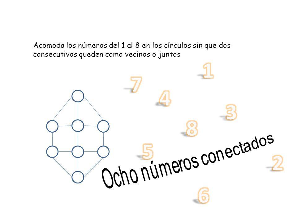 Acomoda los números del 1 al 8 en los círculos sin que dos consecutivos queden como vecinos o juntos