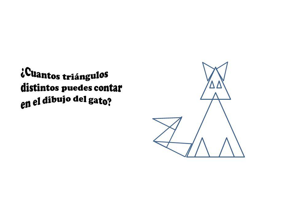 ¿Cuantos triángulos distintos puedes contar en el dibujo del gato