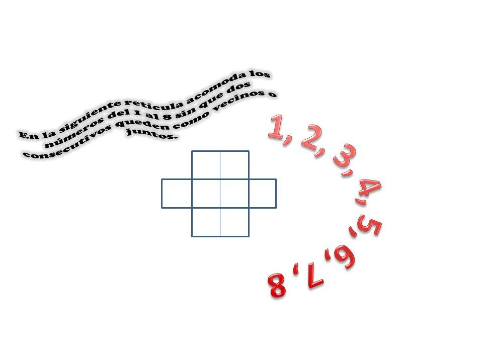 En la siguiente retícula acomoda los números del 1 al 8 sin que dos consecutivos queden como vecinos o juntos.