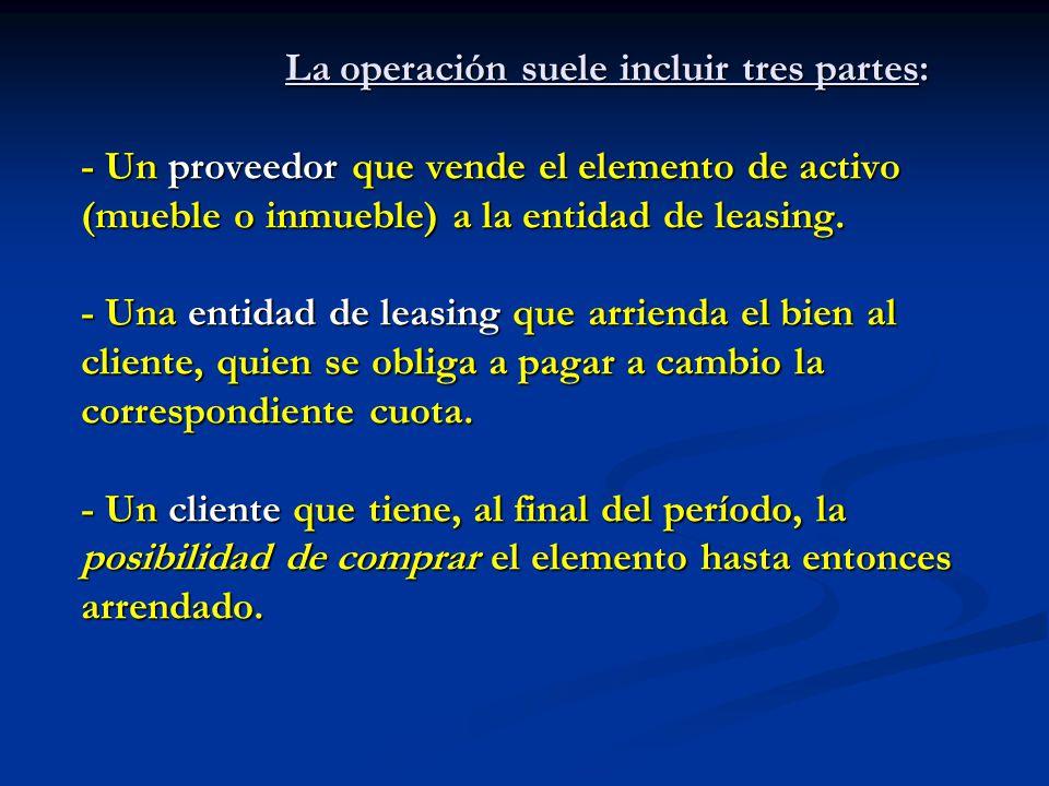 La operación suele incluir tres partes: - Un proveedor que vende el elemento de activo (mueble o inmueble) a la entidad de leasing.