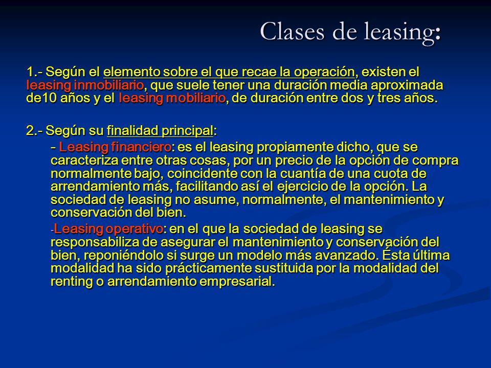 Clases de leasing: