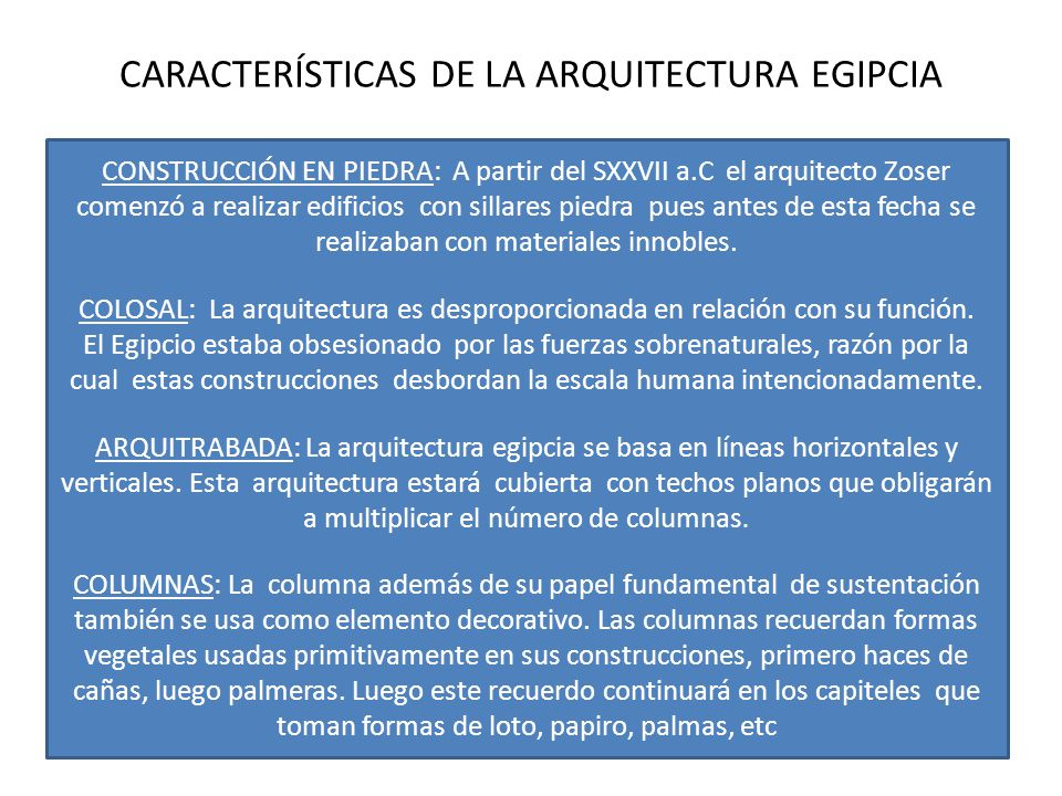 Arte egipcio ppt video online descargar for Caracteristicas de la arquitectura