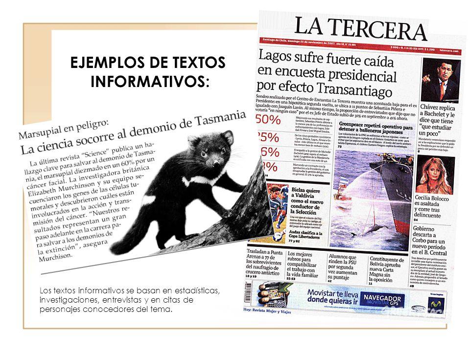 EJEMPLOS DE TEXTOS INFORMATIVOS:
