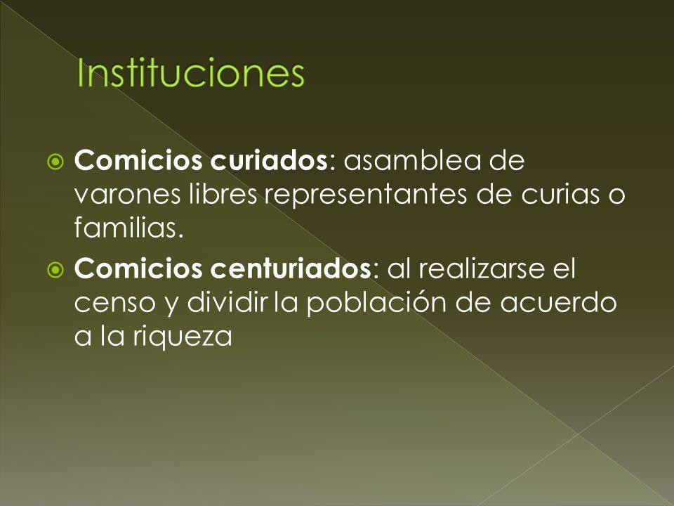 Instituciones Comicios curiados: asamblea de varones libres representantes de curias o familias.