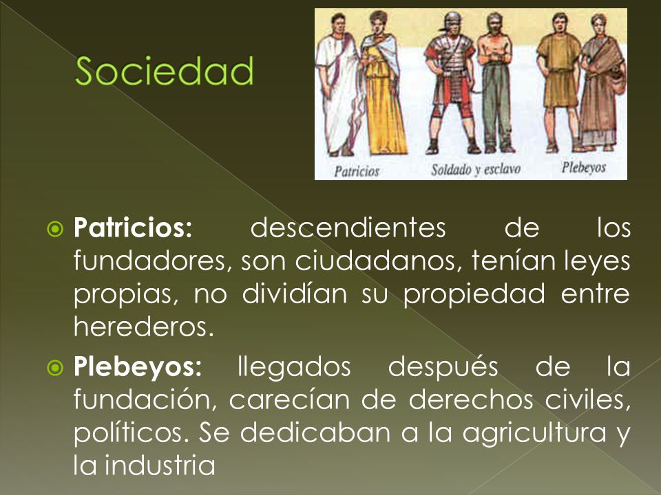 Sociedad Patricios: descendientes de los fundadores, son ciudadanos, tenían leyes propias, no dividían su propiedad entre herederos.