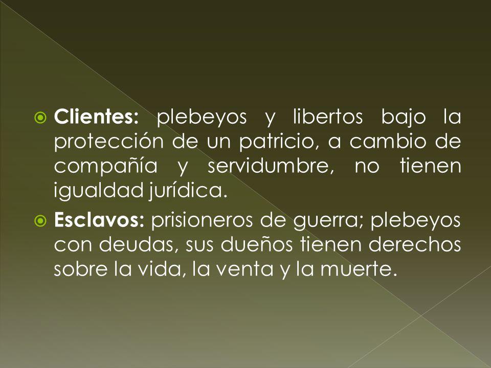 Clientes: plebeyos y libertos bajo la protección de un patricio, a cambio de compañía y servidumbre, no tienen igualdad jurídica.