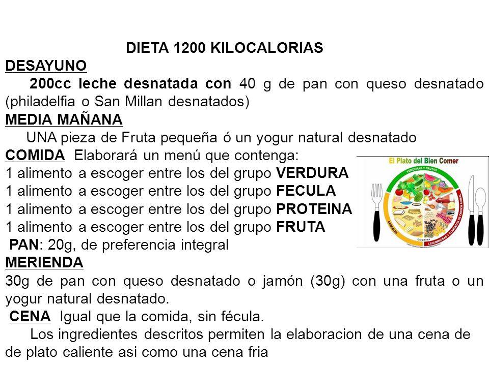 DIETA 1200 KILOCALORIAS DESAYUNO. 200cc leche desnatada con 40 g de pan con queso desnatado (philadelfia o San Millan desnatados)