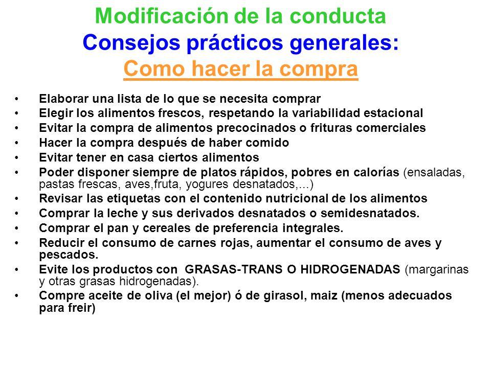 Modificación de la conducta Consejos prácticos generales: Como hacer la compra