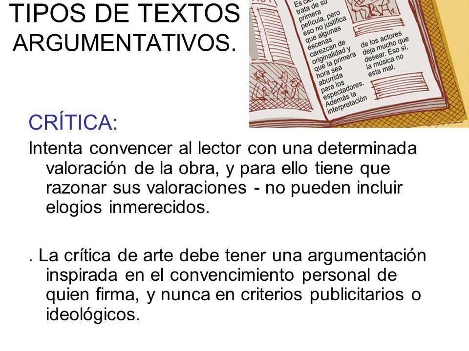 TIPOS DE TEXTOS ARGUMENTATIVOS.