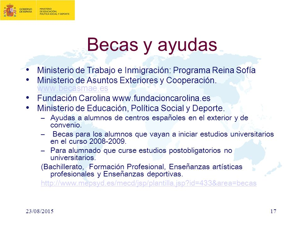 Esquema global sistema educativo espa ol ppt descargar for Secretaria de relaciones exteriores becas