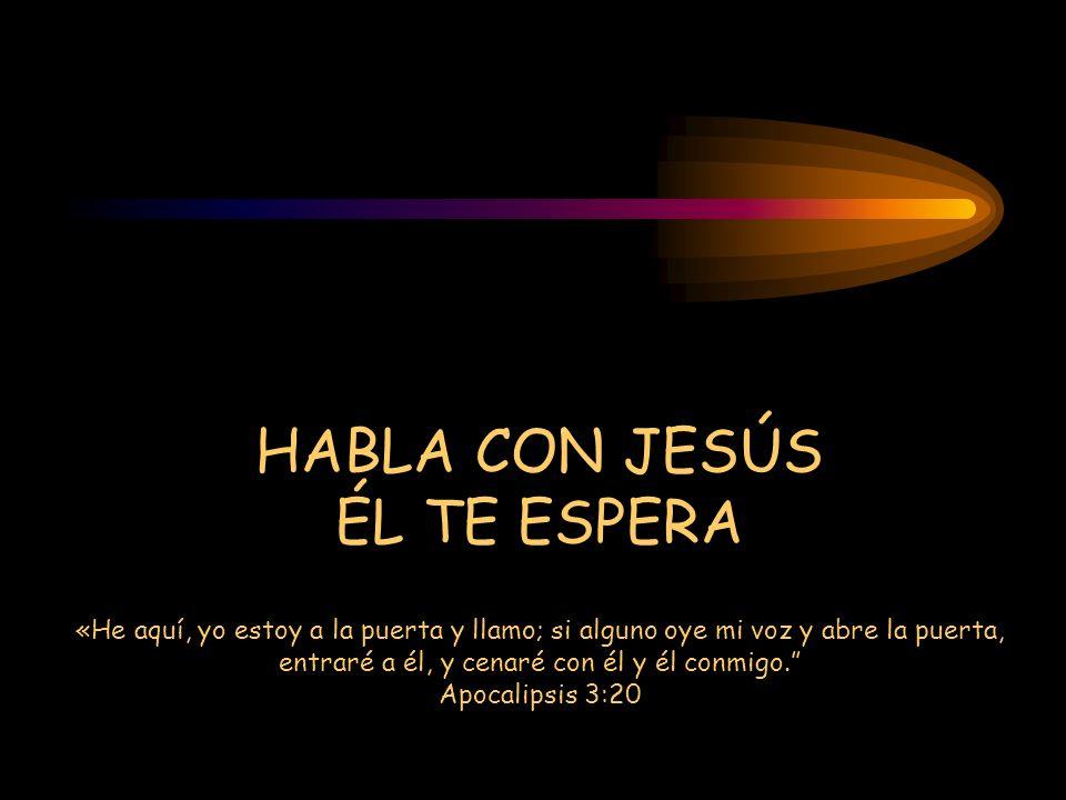 HABLA CON JESÚS ÉL TE ESPERA «He aquí, yo estoy a la puerta y llamo; si alguno oye mi voz y abre la puerta, entraré a él, y cenaré con él y él conmigo. Apocalipsis 3:20