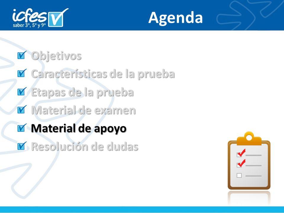Agenda Objetivos Características de la prueba Etapas de la prueba