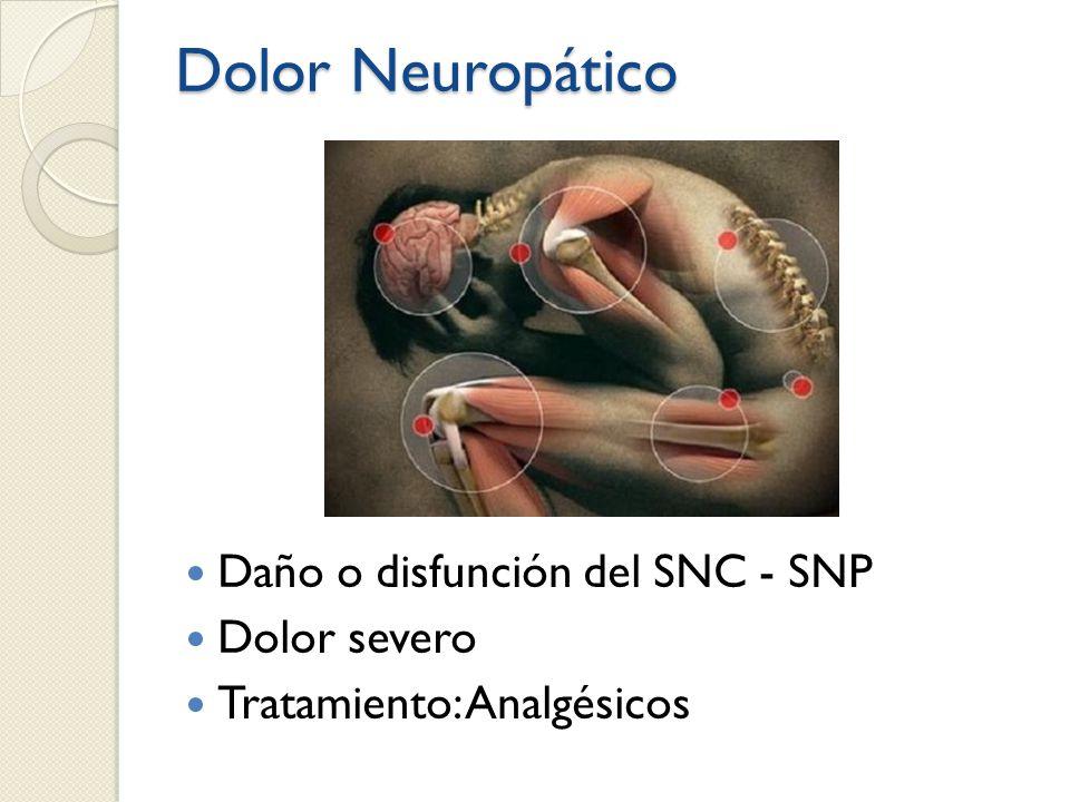 Dolor Neuropático Daño o disfunción del SNC - SNP Dolor severo