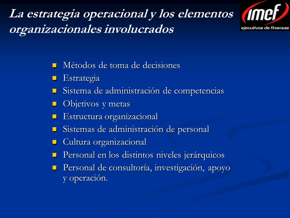 La estrategia operacional y los elementos