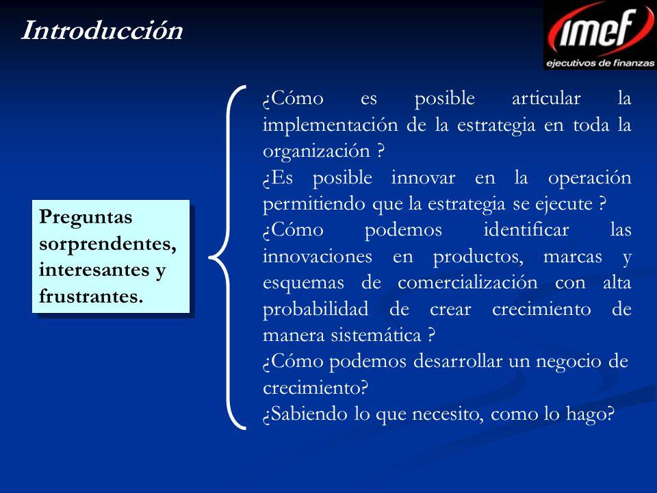 Introducción ¿Cómo es posible articular la implementación de la estrategia en toda la organización