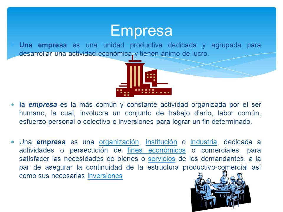 Empresa Una empresa es una unidad productiva dedicada y agrupada para desarrollar una actividad económica y tienen ánimo de lucro.