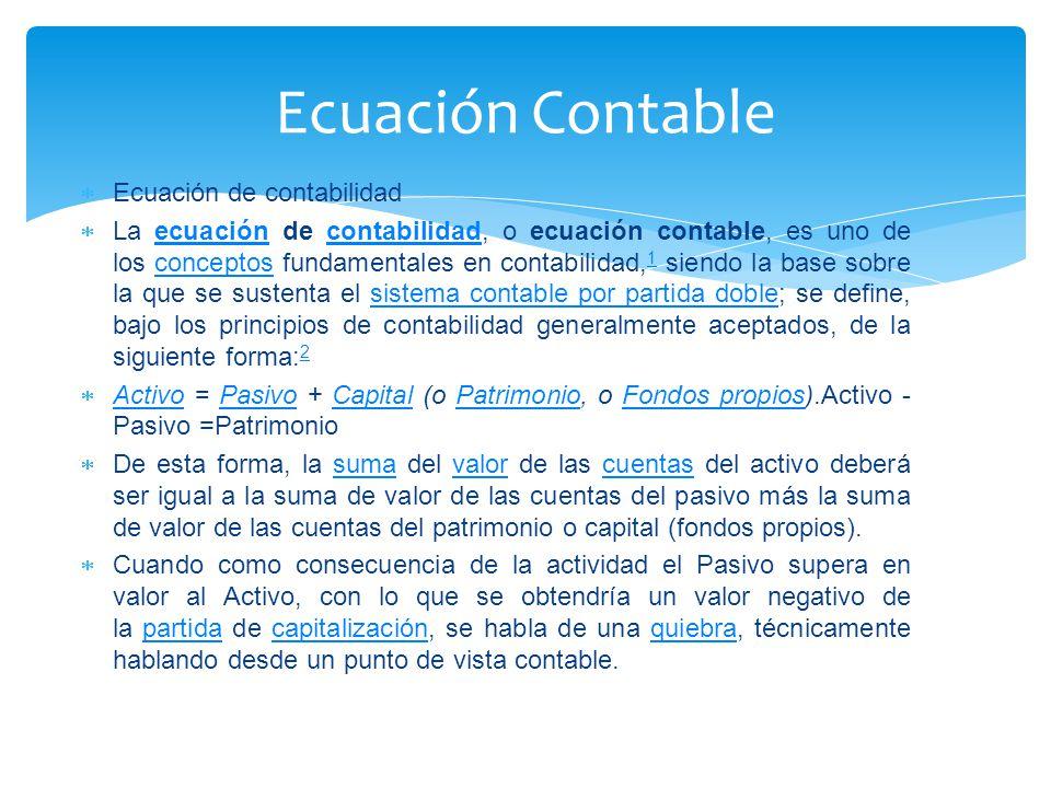 Ecuación Contable Ecuación de contabilidad