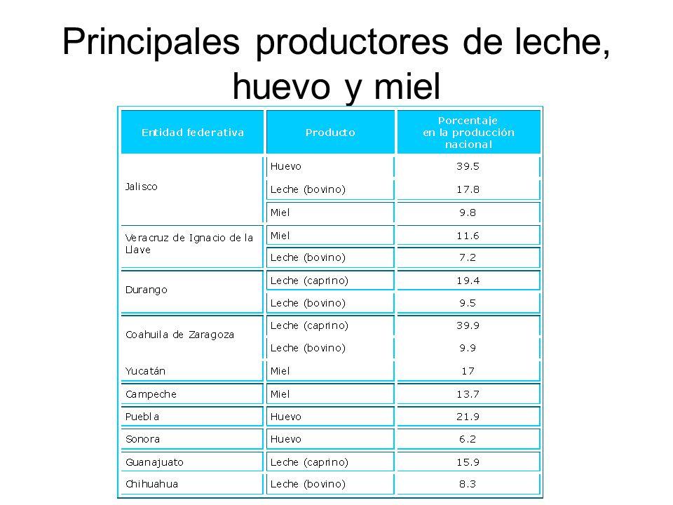 Principales productores de leche, huevo y miel