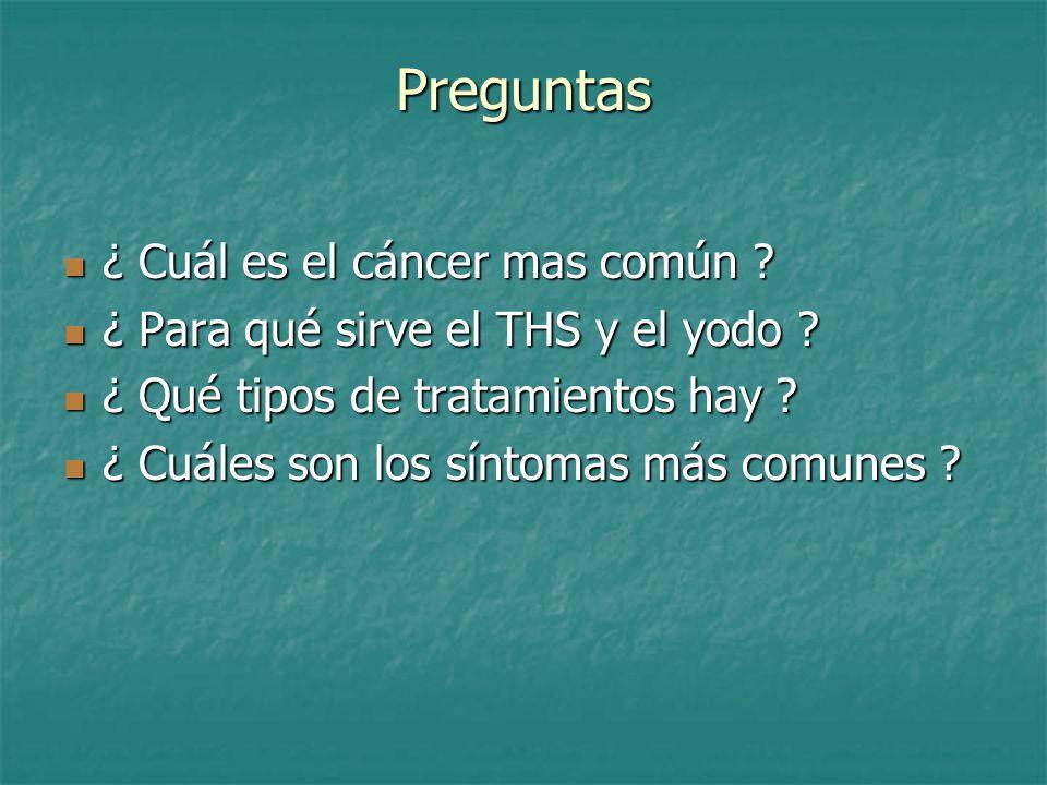 Preguntas ¿ Cuál es el cáncer mas común