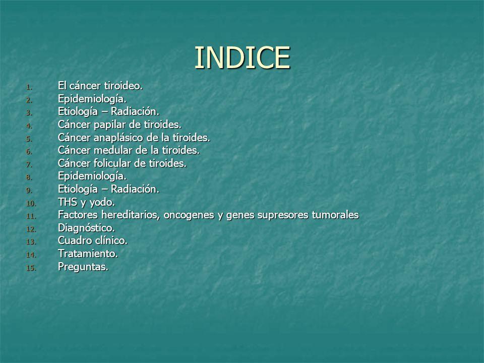 INDICE El cáncer tiroideo. Epidemiología. Etiología – Radiación.