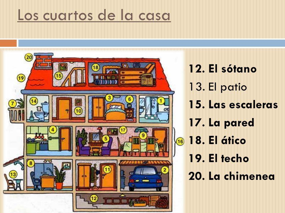 Los cuartos de la casa 12. El sótano 13. El patio 15.
