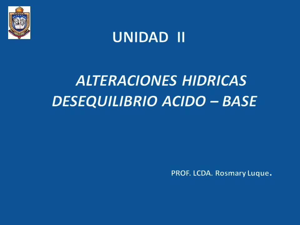 ALTERACIONES HIDRICAS DESEQUILIBRIO ACIDO – BASE