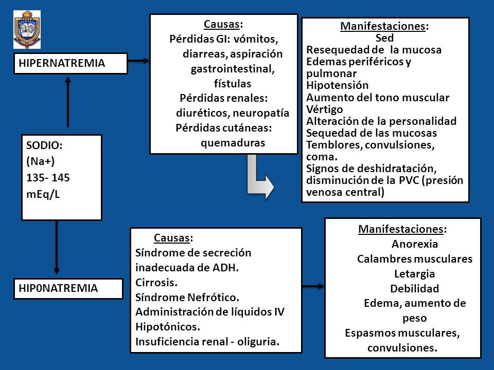 Pérdidas GI: vómitos, diarreas, aspiración gastrointestinal, fístulas