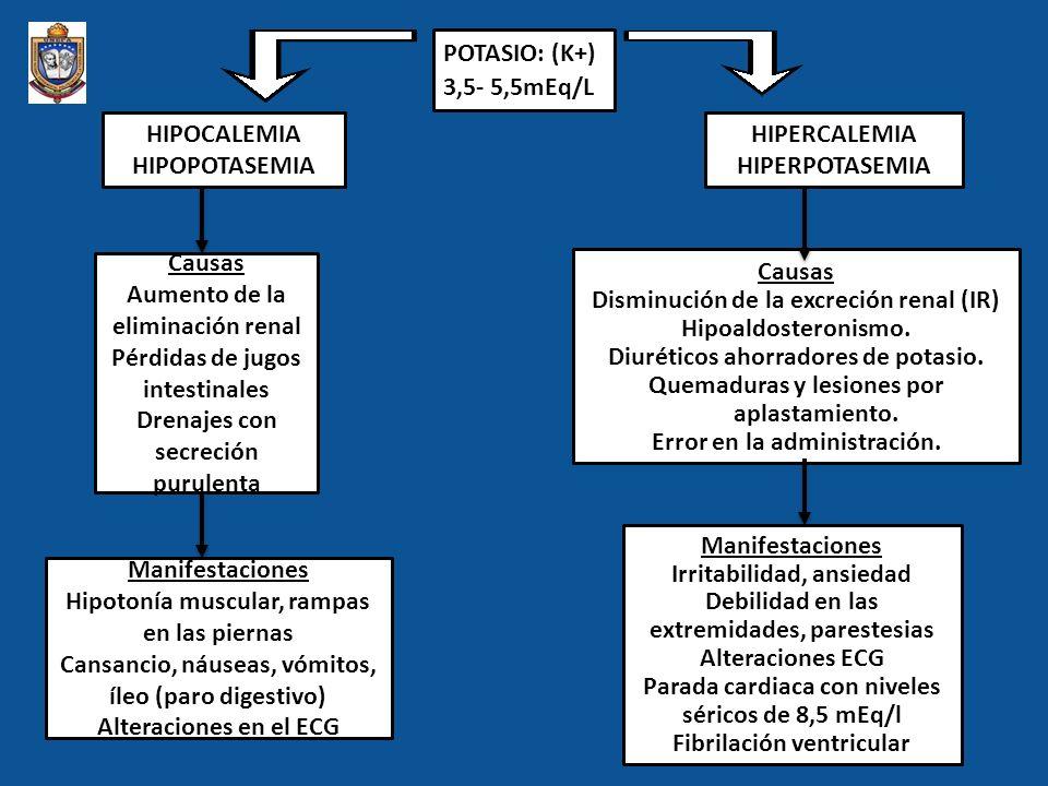 Aumento de la eliminación renal Pérdidas de jugos intestinales