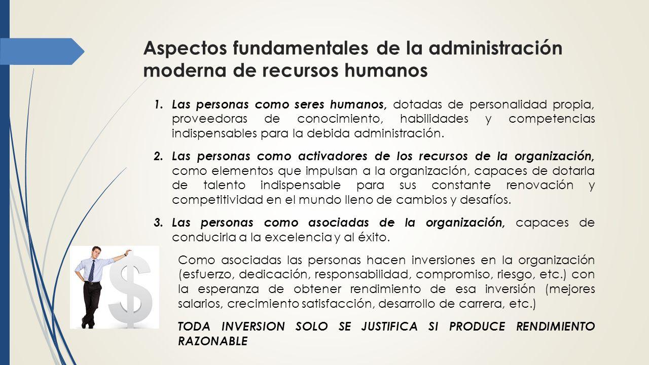 Aspectos fundamentales de la administración moderna de recursos humanos