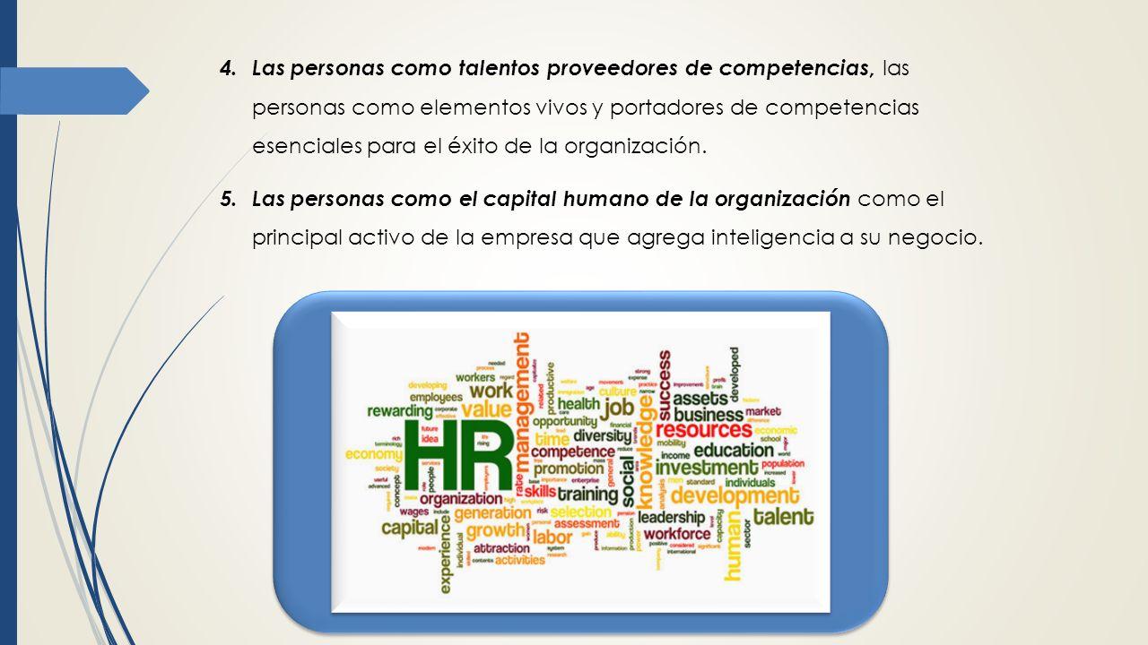 Las personas como talentos proveedores de competencias, las personas como elementos vivos y portadores de competencias esenciales para el éxito de la organización.