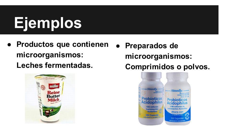 Ejemplos Productos que contienen microorganismos: Leches fermentadas.