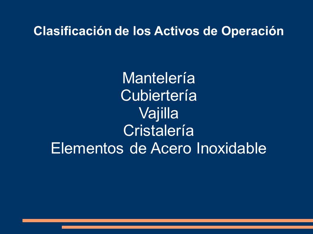 Clasificación de los Activos de Operación