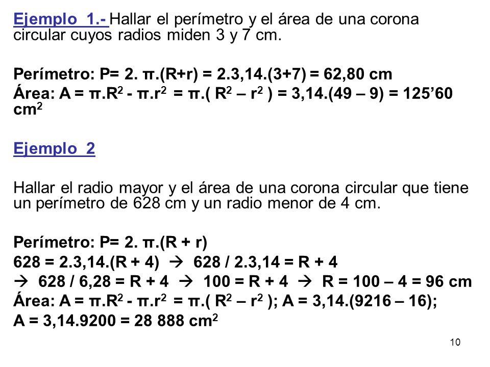 Ejemplo_1.- Hallar el perímetro y el área de una corona circular cuyos radios miden 3 y 7 cm.