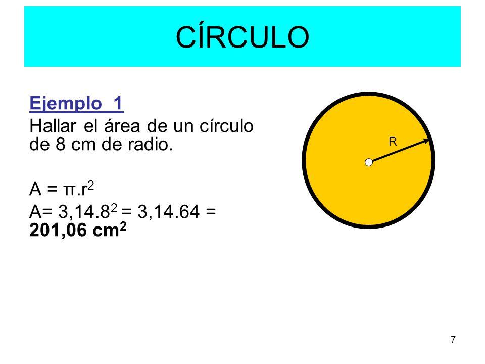 CÍRCULO Ejemplo_1 Hallar el área de un círculo de 8 cm de radio.