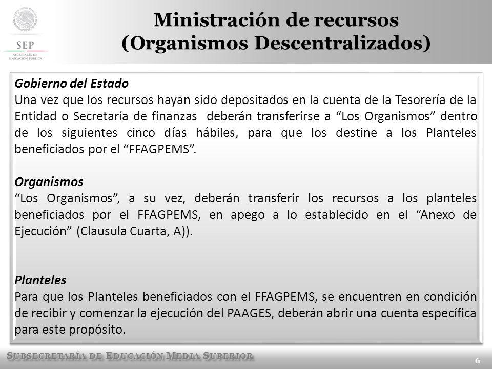 Ministración de recursos (Organismos Descentralizados)