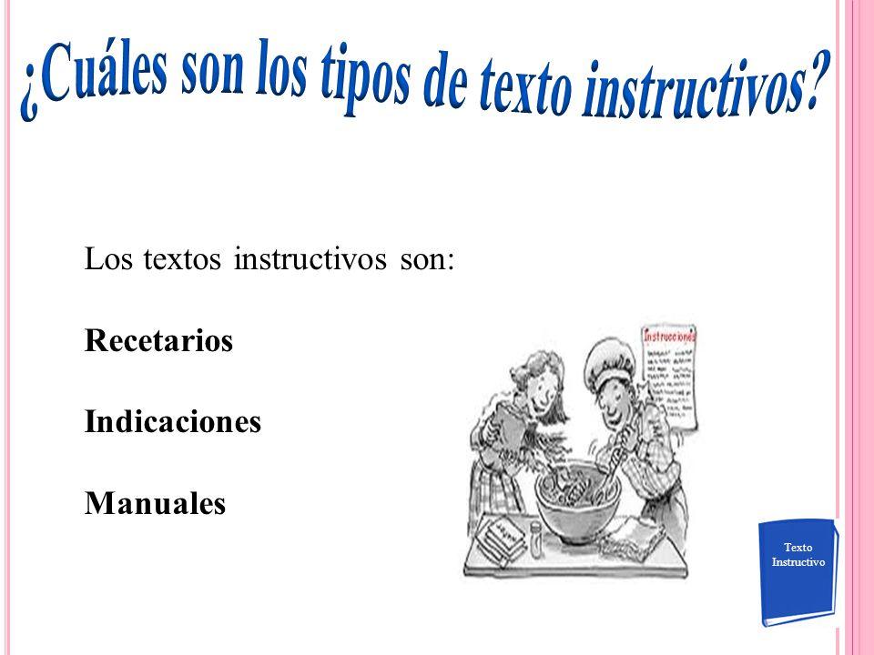 ¿Cuáles son los tipos de texto instructivos