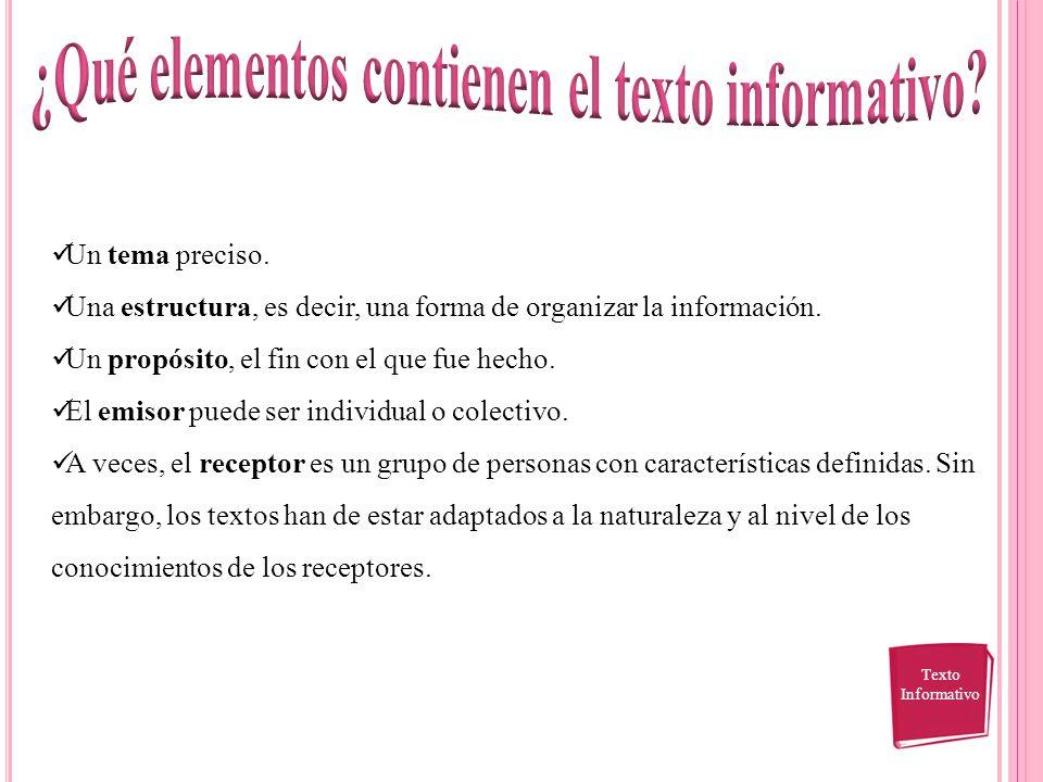 ¿Qué elementos contienen el texto informativo