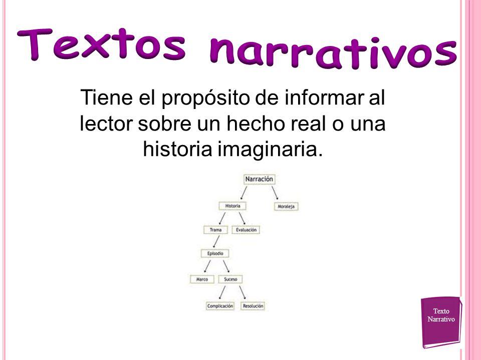 Textos narrativos Tiene el propósito de informar al lector sobre un hecho real o una historia imaginaria.