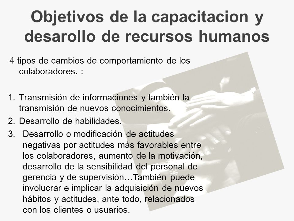 Objetivos de la capacitacion y desarollo de recursos humanos
