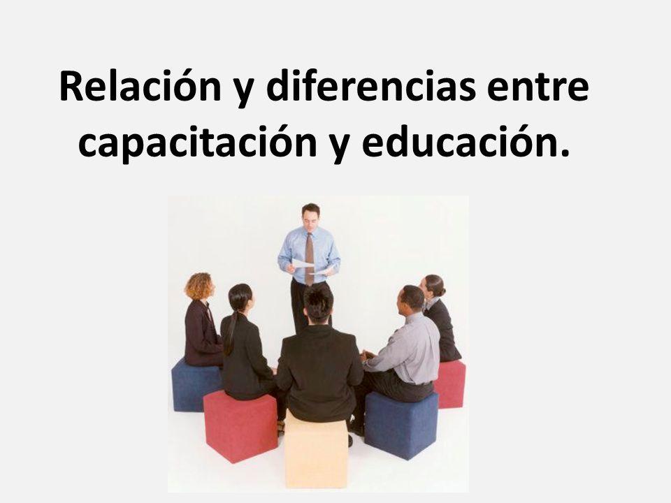 Relación y diferencias entre capacitación y educación.