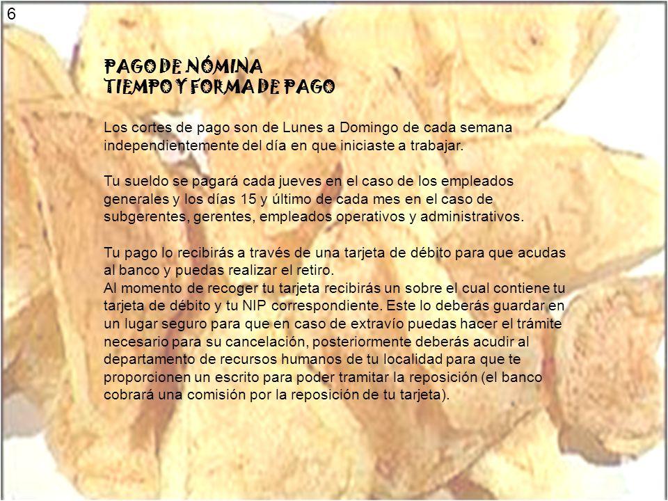 6 PAGO DE NÓMINA TIEMPO Y FORMA DE PAGO