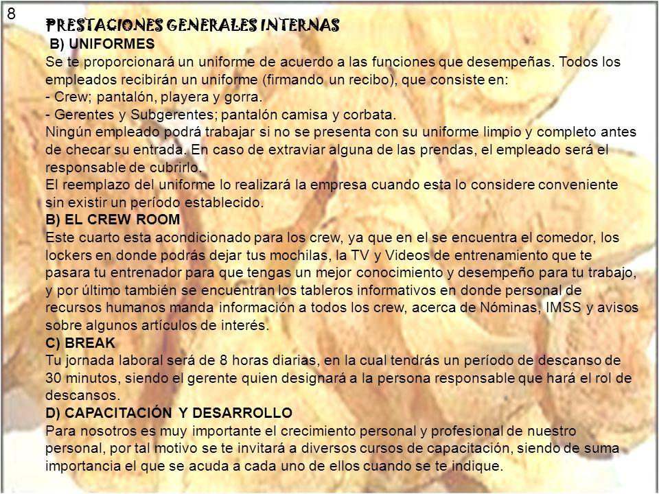 8 PRESTACIONES GENERALES INTERNAS B) UNIFORMES