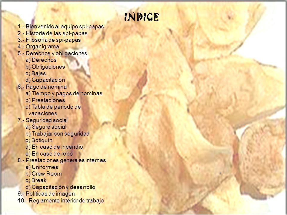 INDICE 1.- Bienvenido al equipo spi-papas