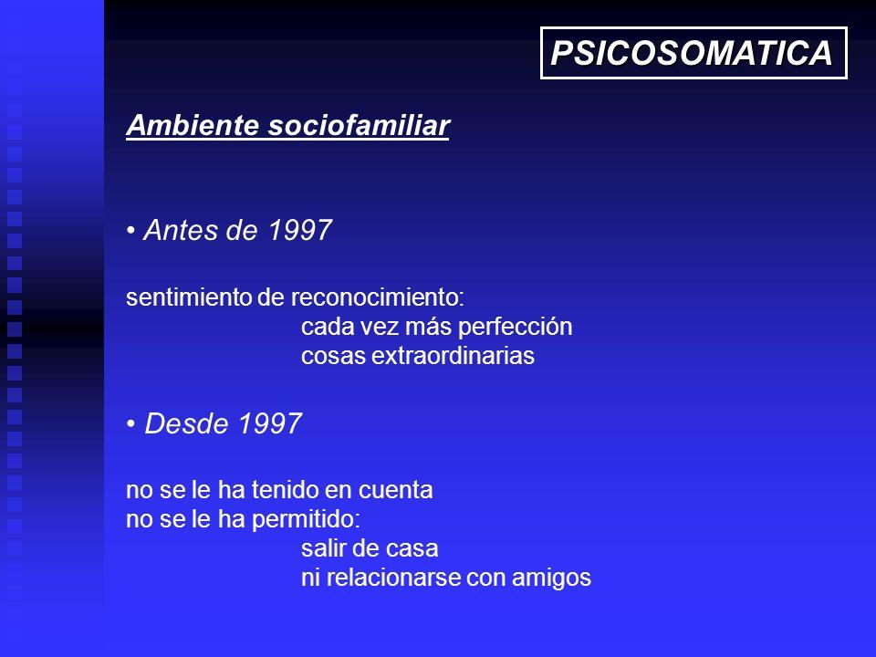 PSICOSOMATICA Ambiente sociofamiliar Antes de 1997 Desde 1997