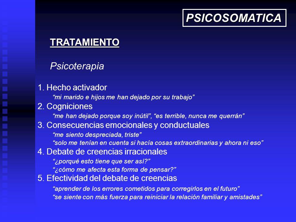 PSICOSOMATICA TRATAMIENTO Psicoterapia 1. Hecho activador
